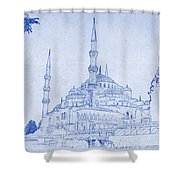 Sultan Ahmed Mosque Istanbul Blueprint Shower Curtain