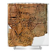 Sumerian Map, Clay Cuneiform Tablet Shower Curtain