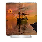 Summer Anchorage Shower Curtain by Claude McCoy