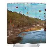 Summer At The River Shower Curtain