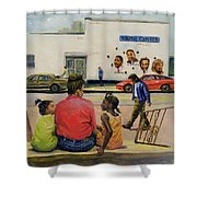 Summer City Stoop Shower Curtain by Colin Bootman