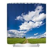Summer Day Blue Sky Green Grass Shower Curtain