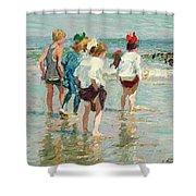 Summer Day Brighton Beach Shower Curtain