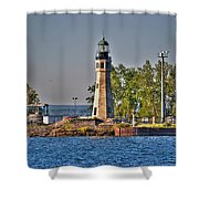 Summer Day View Of The Lighthouse  Shower Curtain