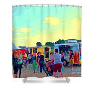 Summer Family Fun Paintings Of Food Truck Art Roadside Eateries Dad Mom And Little Boy Cspandau Shower Curtain