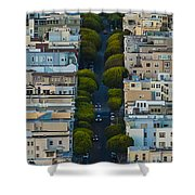Summer Green On Lombard Street Shower Curtain