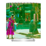Summer Heatwave Too Hot To Walk Lady Hailing Taxi Cab At Hogg Hardware Rue Sherbrooke Carole Spandau Shower Curtain