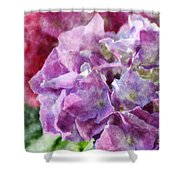 Summer Hydrangeas With Painted Effect Shower Curtain