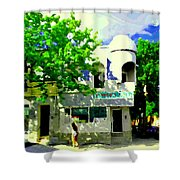 Summer In Psc Pizza At Connie's Pizzaria And Hamburgers City Scene Sud Ouest Montreal Carole Spandau Shower Curtain