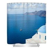 Summer In Santorini - Greece Shower Curtain