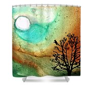 Summer Moon - Landscape Art By Sharon Cummings Shower Curtain