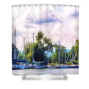 Summer Morning At Johnson's Boatyard Shower Curtain