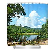 Summer Mountain Pond 2 Shower Curtain