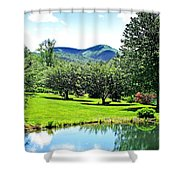 Summer Pond And The Blueridge Shower Curtain