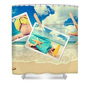 Summer Postcards Shower Curtain