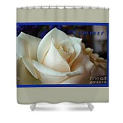 Summer Rose Sapphire Border Shower Curtain
