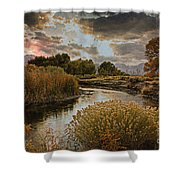 Summer Sets On The Gunnison River Shower Curtain