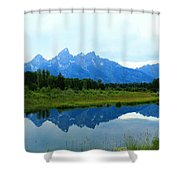 Summer Snow Mountains Shower Curtain