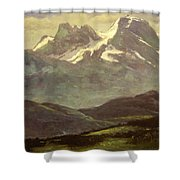 Summer Snow On The Peaks Or Snow Capped Mountains Shower Curtain