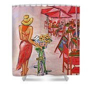 Summer Stroll By A Cafe Shower Curtain