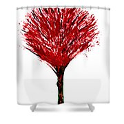 Summer Tree Painting Isolated Shower Curtain