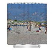 Summer Volley Ball Shower Curtain by Deborah Benoit
