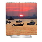 Late Summer Sunset Over The Bay Shower Curtain
