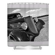 Summertime Blues In Black And White - Ford Coupe Hot Rod Shower Curtain