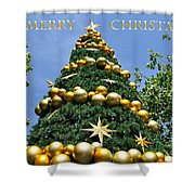 Summertime Christmas With Text Shower Curtain by Kaye Menner