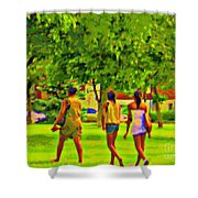 Summertime Walk Through The Beautiful Tree Lined Park Montreal Street Scene Art By Carole Spandau Shower Curtain