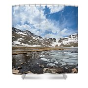 Summit Lake In The Spring Shower Curtain