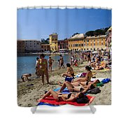 Sun Bathers In Sestri Levante In The Italian Riviera In Liguria Italy Shower Curtain