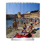 Sun Bathers In Sestri Levante In The Italian Riviera In Liguria Italy Shower Curtain by David Smith