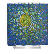 Sun Burst Of Squiggles Shower Curtain