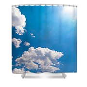 Sun Burst On A Blue Sky And Clouds Shower Curtain