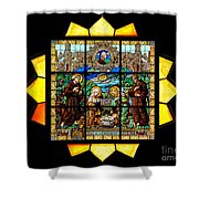 Sun Burst Stained Glass Shower Curtain