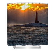 Sun Climbing Over Thacher Island Lighthouse Shower Curtain