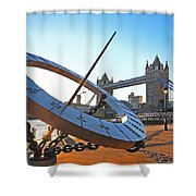 Sun Dial And Tower Bridge London Shower Curtain