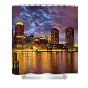 Sun Dusk Over Boston Harbor Shower Curtain