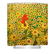 Sun Flowers Field With Two Hearts Forever Connected By Love Shower Curtain