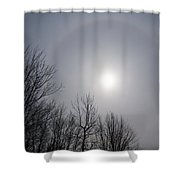 Sun Halo Through The Trees Shower Curtain