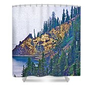 Sun Notch On A Rainy Day At Crater Lake National Park-oregon Shower Curtain