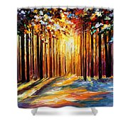 Sun Of January - Palette Knife Landscape Forest Oil Painting On Canvas By Leonid Afremov Shower Curtain