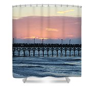 Sun Over Crowed Pier Shower Curtain