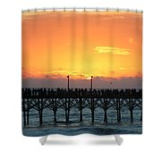 Sun In Clouds Over Pier Shower Curtain