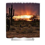 Sun Rays Over The Sonoran Desert  Shower Curtain