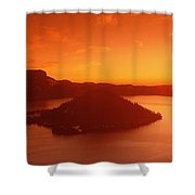Sun Rising Over Crater Lake National Shower Curtain