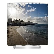 Sun Sand And Waves - Waikiki Honolulu Hawaii Shower Curtain