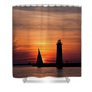 Sun Set At The Muskegon Lighthouse Shower Curtain