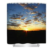 Sun Setting Behind The Mountains Shower Curtain